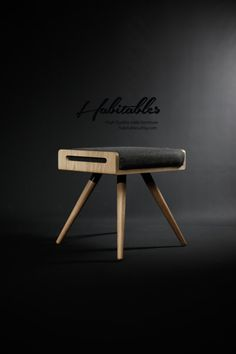 Stool / Seat / stool / Ottoman / bench made in solid oak board and solid oak legs, finished in natural oil Upholstered in gray Cold wool.  Dimensions
