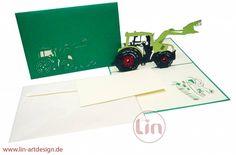 Aufklappbare Traktor Grußkarte für echt Trekkerfans.  Mehr entdecken auf: www.lin-popupkarten.de