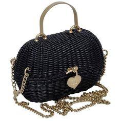 Preowned Chanel Black Straw Heart Closure Handbag Mint Vintage ($4,565) ❤ liked on Polyvore featuring bags, handbags, purses, black, woven straw handbags, vintage handbags purses, chanel handbags, mini purse and mini handbags