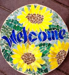 Custom Order Inspirational Words and Quotes Mosaic Stepping Stones. via Etsy. Mosaic Stepping Stones, Stone Mosaic, Mosaic Glass, Stepping Stones For Garden, Mosaic Birdbath, Pebble Mosaic, Mosaic Garden Art, Mosaic Art, Mosaic Tiles