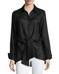 Neiman Marcus Long-Sleeve Tie-Waist Blouse, Black  New offer @@@ Price :$169 Price Sale $99