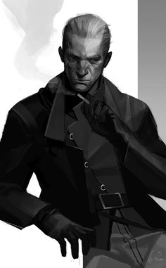 Old man, smokes a lot, dies soon enough probably, still sexy af :^( Assassin Daud from Dishonored Still Knife of Dunwall Character Concept, Character Art, Concept Art, Dark Fantasy, Fantasy Art, Last Exile, Shadowrun, Character Portraits, Dieselpunk