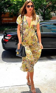 Miranda Kerr in floral dress , prettying up the pavements