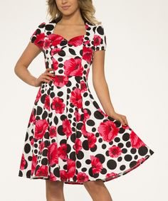 Look what I found on #zulily! White & Pink Floral Polka Dot Fit & Flare Dress - Plus Too by HEARTS & ROSES LONDON #zulilyfinds
