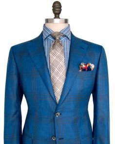 Image of Kiton Blue and Tan Plaid Sportcoat