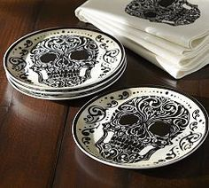 Day of the Dead Porcelain Salad Plate, Set of 4 - traditional - dinnerware - Pottery Barn Crackpot Café, Craft Robo, Josie Loves, Gothic House, Skull And Bones, Salad Plates, Day Of The Dead, Skull Art, Halloween Decorations