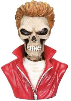 Dean Skull Bust Figurine Statue - Gosh, does anyone remember James Dean, the King of Cool??  Found at Mandarava.com