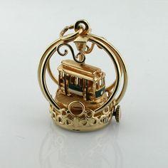 Vintage 14K Gold Dankner Living Charm Mechanical Cable Car Movable