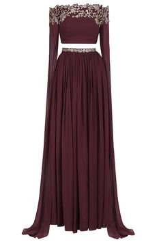 Marsala Off Shoulder Embroided Cape Sleeve Crop Top Skirt By Pooja Peshoria Party Wear Indian Dresses, Designer Party Wear Dresses, Indian Gowns Dresses, Dress Indian Style, Indian Fashion Dresses, Indian Designer Outfits, Girls Fashion Clothes, Beautiful Dress Designs, Stylish Dress Designs