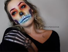 VooDoo Queen. Rainbow Skull. Halloween Makeup. Skull Makeup.