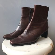 Vintage 1990s Pointed Square Toe Leather Ankle Boots / Chocolate Brown / Size 36 #etsy #shoes #vintageboots #90sboots #brownboots #ankleboots #squaretoeboots 90s Boots, Black Denim Skirt, Square Toe Boots, Vintage Boots, Cotton Skirt, Leather Ankle Boots, Brown Boots, Chocolate Brown, 1990s