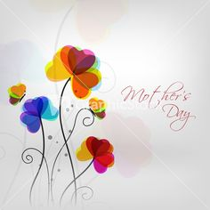 Colorful Flowers With Text Mothers Day