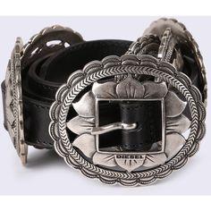 Diesel B-JANETAH Belts ($130) ❤ liked on Polyvore featuring accessories, belts, black, women, embellished belt, cowhide belt, embellished waist belt, diesel belts and slim waist belt