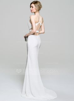 Trumpet/Mermaid Scoop Neck Sweep Train Zipper Up at Side Spaghetti Straps Sleeveless No 2016 Ivory Spring Summer Fall General Plus Jersey Evening Dress