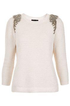 knitted embellished jumper | topshop