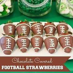 Gearing up for the big game?  How about a sweet treat?    Chocolate-covered strawberries decorated to look like footballs are fun and delicious!  They're simple to make, too!