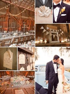 barn wedding...love the burlap bunting and flower arrangements.