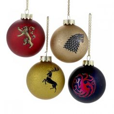 Game of Thrones Sigil Ornament set of 4 Funny Christmas Ornaments, Christmas Humor, Christmas Bulbs, Christmas Crafts, Game Of Thrones Christmas, Game Of Thrones Winter, Game Of Thrones Collectibles, Cultural Crafts, Game Of Thones