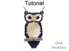 Jewelry Making - Beading Pattern - Beaded Owl Necklace Tutorial - Brick Stitch - Fall Autumn - Simple Bead Patterns - Owl Necklace Owl Patterns, Peyote Patterns, Beading Patterns, Jewelry Making Tutorials, Beading Tutorials, Jewellery Making, Fall Jewelry, Beaded Jewelry, Beaded Earrings