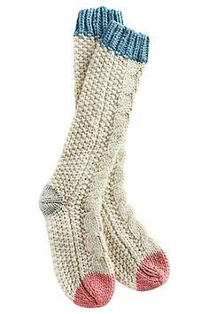 Stocking stuffer: Cutest cozy socks ever! soft tall socks for bed Cable Knit Socks, Knitting Socks, Woolen Socks, Vogue Knitting, Knit Sweaters, Free Knitting, Tall Socks, Cozy Socks, Fluffy Socks