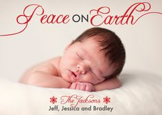 Peace on Earth text overlay photo holiday card with snowflake. Available for purchase/customization at www.etsy.com/shop/simplypaperdesigns