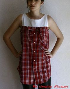 I love these made with upcycled men's old shirts, or even upcycled old men's shirts would be as good, :) Umgestaltete Shirts, Diy Kleidung, Diy Vetement, Altered Couture, Creation Couture, Altering Clothes, Clothing Hacks, Sewing Clothes, Sewing Men