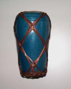Antique Japanese Awaji Porcelain Vase with Bamboo Wicker Superb! from antiquecharm on Ruby Lane