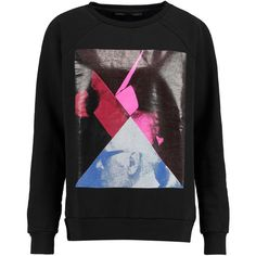 Karl Lagerfeld Eddie printed cotton-felt sweatshirt ($81) ❤ liked on Polyvore featuring tops, hoodies, sweatshirts, black, black sweatshirt, colorful sweatshirts, black top, karl lagerfeld and cotton sweat shirts