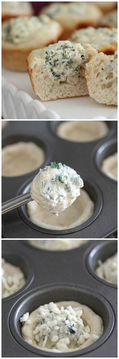 Baked Spinach Dip Mini Bread Bowls - maybe use puff pastry instead of pilsbury dough? or french bread recipe