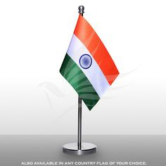 Indian miniature table flag of size x with a beautiful, stainless-steel base, staff and finial top Table Flag, Flags, Miniatures, Base, Stainless Steel, Indian, Motivation, Outdoor Decor, Top