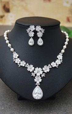 Luxury Cubic Zirconia Bridal Jewelry Set from EarringsNation Bridal Statement Necklace Classic Weddings