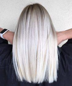 Mid-Length Straight Platinum Blonde Hair