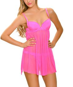 Look at this Popsi Pink Lace Babydoll & Thong - Plus Too on #zulily today!