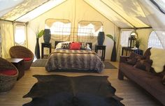 Luxurious interior of a glamping tent at the Ventura Ranch KOA Holiday