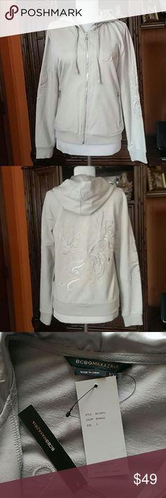BCBGMAXAZRIA Hoodie Jacket BCBGMAXAZRIA Hoodie Jacket, 95%polyester, 5%spandex, color seagull grey, exclusive of decoration BCBGMAXAZRIA Jackets & Coats