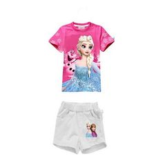2pcs clothes Sets Animation Elsa & Anna Summer clothing sets For Girl 2015 NEW girls sets cotton t shirt+Shorts suits Kids Wear