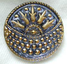 Czech Glass Button  AntiqueBlue Glass Peacock by ButtonOdyssey, $4.99