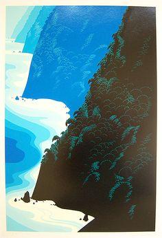 """EYVIND EARLE Signed 1976 Color Serigraph """"Blue Big Sur"""""""