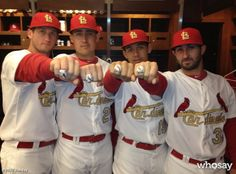 Cardinals players showing off their 2011 World Series Championship Rings. L to R: David Freese, Allen Craig, John Jay and Daniel DeScalso. St Louis Baseball, St Louis Cardinals Baseball, Stl Cardinals, 2011 World Series, World Series Rings, Cardinals Players, Hockey, Championship Rings, My Idol