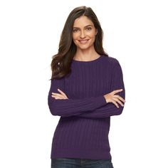 Women's Croft & Barrow® Cable-Knit Crewneck Sweater, Drk Purple
