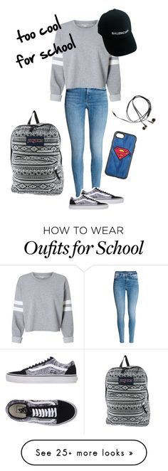 """Too cool for school"" by anafilipafonseca2004 on Polyvore featuring Vans, Balenciaga, JanSport and OtterBox"