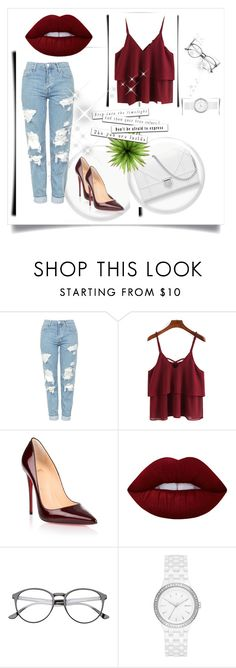 """""""Untitled #1"""" by lejlakovac95 ❤ liked on Polyvore featuring beauty, Topshop, Christian Louboutin, Lime Crime and DKNY"""