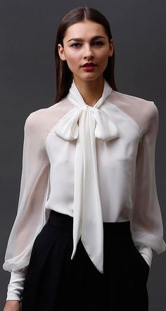 60 Blouse Design Idea and Inspiration. Craft your tees and tank tops for a moment and up your fashion game with this fabulous selection of classy blouses. Whether you are into feminine manners like beautiful lace and delicate thin, or time Office Outfits, Casual Outfits, Cute Outfits, Fashion Outfits, Fashion Ideas, Fashion Trends, Blouse Sexy, Bow Blouse, Sheer Blouse