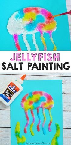 Salt is such a fun medium for art projects! Make this Jellyfish salt painting! A fun textured art activity for preschoolers, kindergartners and first graders!