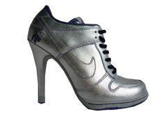high heeled silver nike
