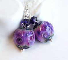 Purple Swirls Lampwork Earrings Silver and by hhjewelrydesigns