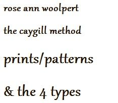 rose ann woolpert. the caygill method.  spring, summer, autumn, winter (correspond to #type1, #type2, #type3, #type4 in related style systems). prints, patterns & the 4 types. LINK: www.facebook.com/PersonalColors (YOU HAVE TO SCROLL DOWN TO WHERE IT READS PATTERN CHOICES - Prints and patterns are...) another article: www.personalcolors.com/2012/03/03/pattern-choices/ similar in thought to carla mathis triumph of individual style book & also jennifer butler reinventing your style book