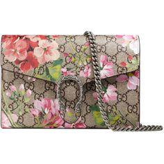 Gucci Dionysus Blooms Print Mini Chain Bag (€1.145) ❤ liked on Polyvore featuring bags, handbags, shoulder bags, rose, floral print handbags, chain strap purse, gucci shoulder bag, leather shoulder handbags and leather purses