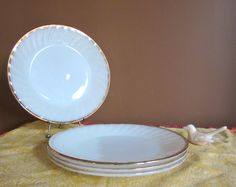 Vintage Luncheon Plates Dessert Plates FireKing Gilded Set of 4 by JmilliesJustVintage on Etsy