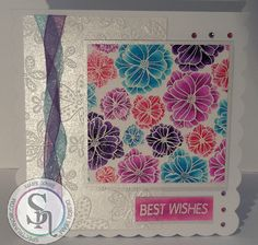 Designed by Marie Jones - Spectrum Noir Sparkle  - Pink Garnet, Inspired Violet, Amethyst, Aquamarine & Crystal Clear - WOW Tropical stamp - Watercolour card - CP Snow White Hint of Silver - Embossalicious Ditzy Floral folder - VersaMark ink & White embossing powder - Collall All Purpose & 3D glue #crafterscompanion #spectrumnoir #sparkle #flowers #handmade #craft